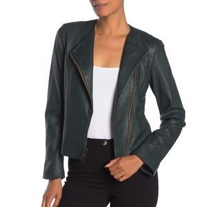 Vince Leather Cross Front Motocycle Jacket Green L